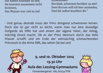 Oktober 2014 Schwimmen lernen – kein Spiel für Prinzen (Regie Pia Sennert)